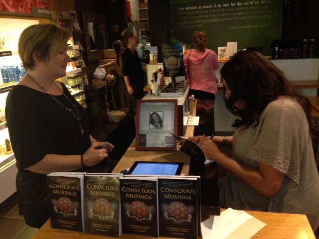Book signing and talk at Aveda, Burlington, Massachusetts